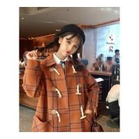 冬装新款流行牛角扣呢子大衣女学生女中长款宽松格子毛呢外套 均码