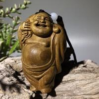 金丝楠木雕手把件 弥勒笑佛挂件小叶帧楠原木雕刻文玩工艺品 长宽高4.3*3.4*6.9cm