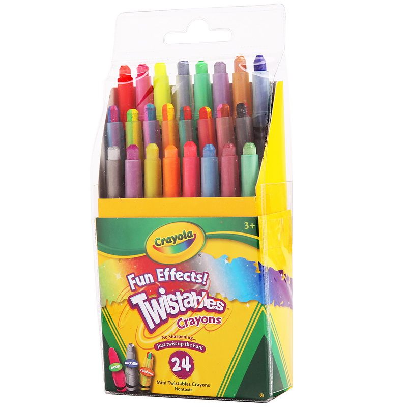 Crayola 绘儿乐 24色迷你装可拧转蜡笔 52-9824【当当自营】美国进口儿童绘画品牌 金属色,霓虹色,彩虹色笔头 绘本绘画用蜡笔