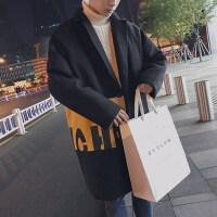 秋冬装新款潮流时尚潮牌呢料风衣韩版宽松男士加厚毛呢大衣外套