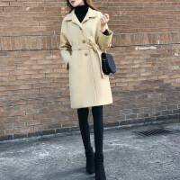 2018流行韩版赫本风宽松黑色呢子大衣女中长款过膝毛呢外套冬