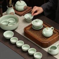 汝�G茶具��s功夫茶具套�b家用泡茶�亻_片�w碗陶瓷茶杯冰裂公道杯