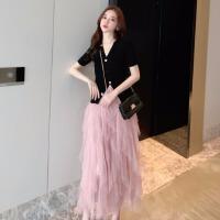套装女春2019新款洋气黑色针织开衫高腰显瘦网纱A字半身蛋糕裙子