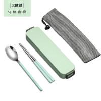 304不锈钢便携餐具筷子勺子叉子套装3四件套可爱学生折叠餐具盒子