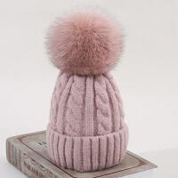 狐狸毛球毛线帽女冬天韩版百搭亲子儿童针织帽冬季加厚保暖帽子
