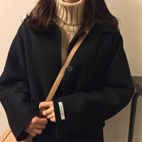 秋冬女2018新款韩版学生宽松显瘦中长款气质呢子大衣加厚毛呢外套 均码(160/84A)