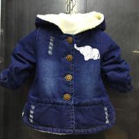 男女童羊羔绒牛仔衣2018儿童冬装大象鼻子牛仔外套加绒扣子厚外套