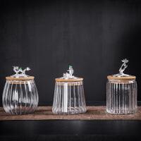 唐丰镶银玻璃茶叶罐家用客厅密封储茶罐户外旅行干果储物罐透明
