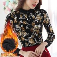 加绒加厚蕾丝打底衫女长袖秋冬装新款修身保暖上衣百搭立领蕾丝衫8831#
