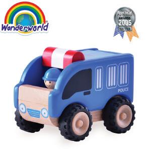 [当当自营]泰国Wonderworld 迷你警车 木质玩具车