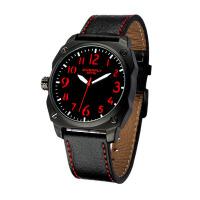 2018新款 EYKI艾奇 军表丛林之战 休闲运动表 皮带手表 男表 黑盘红字 8506