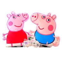 小猪佩奇抱枕 卡通3D佩奇毛绒抱枕 佩佩猪粉红猪小妹抱枕靠垫 儿童小猪玩具 +