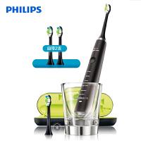 飞利浦(PHILIPS)电动牙刷 成人声波震动钻石系列(自带刷头*2+充电旅行盒+充电玻璃杯) 黑钻 HX9352/04