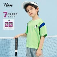6.21超品【4件2.2折:34.9元】迪士尼童装男童速干短袖t恤2021夏季新款洋气儿童男孩时髦上衣潮