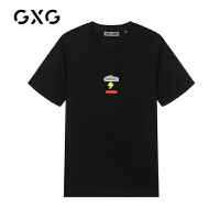 【特价】GXG男装 2021春季时尚休闲潮流黑色短袖T恤男GY144494CV