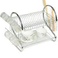 文博金属双层碗架沥水架厨房置物架多功能碗碟架 放碗架柜 沥水置物双层S型多功能 不锈钢碗架