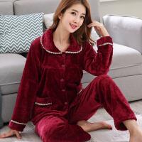 秋冬季睡衣加厚法兰绒女士开衫翻领大码妈妈装月子睡衣套装家居服