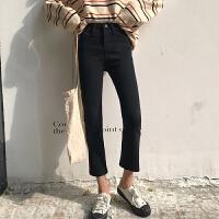 微喇叭高腰牛仔裤女春季2019新款韩版学生百搭弹力显瘦黑色九分裤