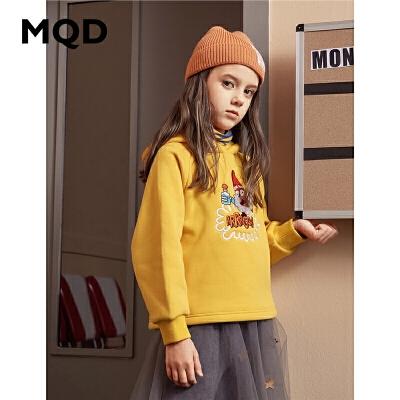 MQD童装加厚女童连帽卫衣2019冬季新款儿童加绒条纹假两件卫衣潮