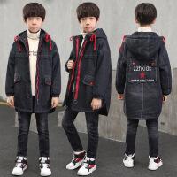 童装男童冬装外套加厚加绒新款中大童儿童牛仔韩版潮棉衣 黑色 120cm