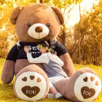 泰迪熊公仔可爱大号狗熊抱抱熊毛绒玩具抱着睡觉女生熊猫布娃娃 隐藏口袋 可藏礼物棕(开心每)