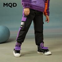 【折后券后预估价:169】MQD童装男童休闲裤20冬装加厚保暖羽绒长裤儿童工装口袋收脚裤子