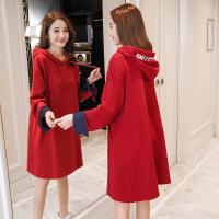 孕妇连衣裙秋冬装2018新款春装韩版宽松长袖上衣中长款大码卫衣裙 红色