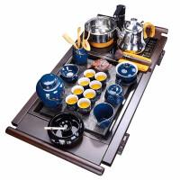 唐丰黑檀木茶盘家用功夫茶具套装陶瓷茶壶自动烧水电热炉复古茶道