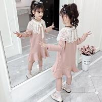 儿童韩版连衣裙女孩子中大童长袖上衣潮女童秋季带帽中长款卫衣