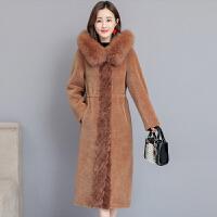 2018颗粒羊毛大衣女羊剪绒冬季新款皮毛一体女士皮草外套加厚