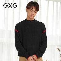 【特价】GXG男装 2021春季休闲黑色刺绣低领毛衫毛衣GY120169GV