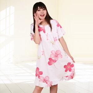 金丰田夏季女士斜纹棉质可爱大花朵短袖睡裙1556