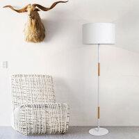 北欧实木客厅落地灯 现代简约田园立式床头地灯个性布艺茶几灯具 白色 白光