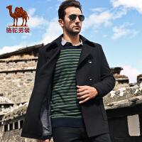 骆驼男装新款大衣 单排扣毛呢大衣 商务休闲中长款男士大衣