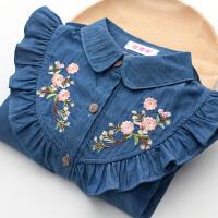 春装秋装中大童装长袖衬衣韩版儿童女孩刺绣外套棉女童牛仔衬衫