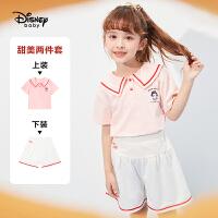 【2件3折:80.7元】迪士尼女童套装2021夏季新款洋气儿童海军领短袖T恤中裤套装