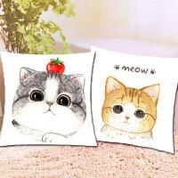 十字绣2019新款客厅线绣简单抱枕套自己绣手工一对情侣萌萌可爱猫