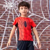 【券后价139】【商场同款】安踏儿童装男童短t小童蜘蛛侠卡通透气速干352139143