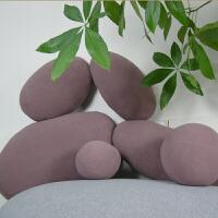 鹅卵石抱枕靠垫圆形坐墩创意家居摆设车展道具定制