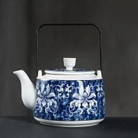 唐丰青花瓷泡茶壶家用复古金属提梁壶中式大号陶瓷冷水壶