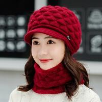 帽子女秋冬季加绒中老年人奶奶妈妈保暖护耳骑车防寒帽毛线帽冬天