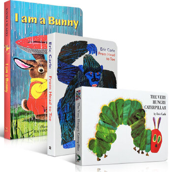 顺丰发货 绘本馆推荐暑假书单3本纸板书套装I am a bunny The Very Hungry Caterpillar好饿的毛毛虫 From head to toe 送音频
