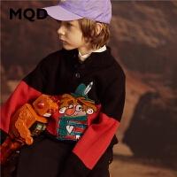 MQD童装男童2019冬季冬装半高领中大童保暖加厚毛衣