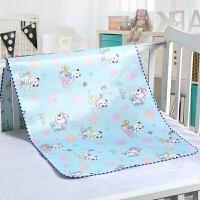 冰丝凉席隔尿垫婴儿防水透气可洗新生儿宝宝双面床垫夏季薄款 蓝色 冰丝面+水晶绒面 中号 90*120(送同尺寸)