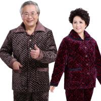爸爸妈妈睡衣冬季5 60 70 80岁老人棉袄家居服男女士加厚保暖棉衣