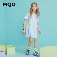 【2件3折:90】MQD童装女童连衣裙2020夏季新款撞色字母印花儿童裙子运动洋气裙