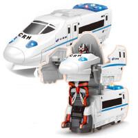 电动玩具车和谐号列车万向变形车灯光音乐电动变形机器人地摊MG 蓝