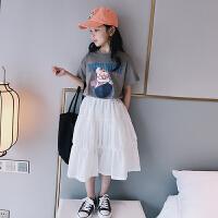 女童白色半身裙夏�b中大童高腰裙子中�L款�^膝蛋糕裙