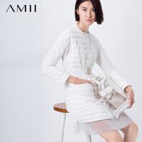 【已售罄】AMII[极简主义]冬新暗门襟拉链直筒配腰带圆领羽绒服11571237