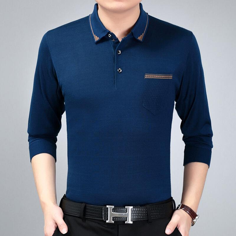 春秋季中年男士长袖T恤 中老年爸爸装薄款针织衫体恤男装上衣   批量拍下不发货